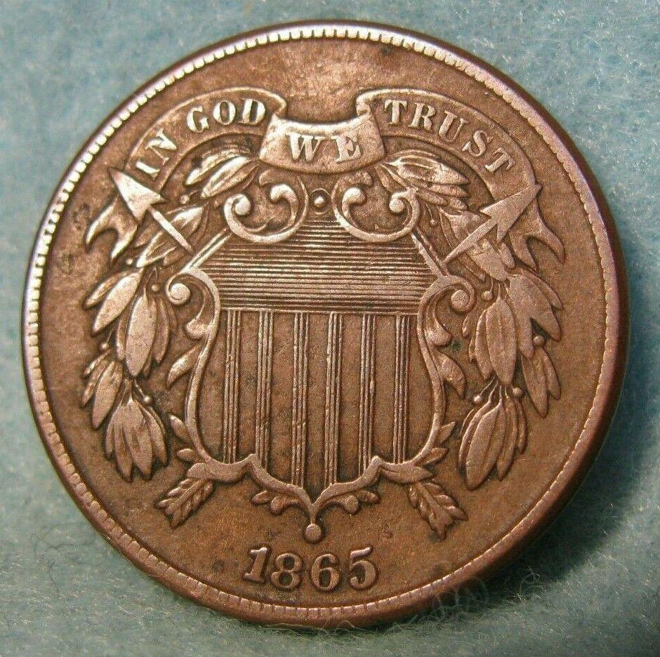 1865 Civil War Era Two Cent Piece Solid Vf United States Coin Civil War Era Civil War Coins