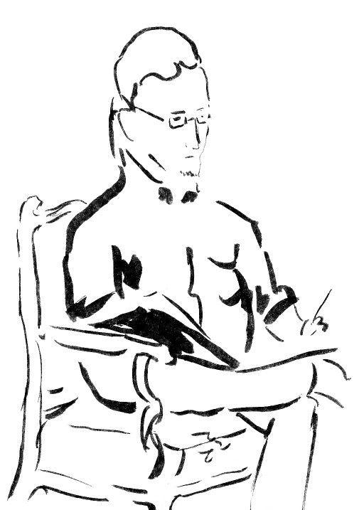 Man drawing in cafè