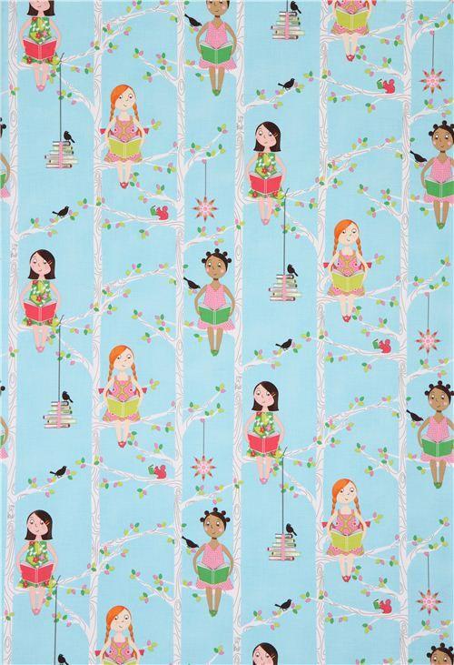 Tela agua niñas leyendo Quiet Time de Michael Miller EE. UU. - Telas infantiles - Textiles - tienda kawaii modesS4u