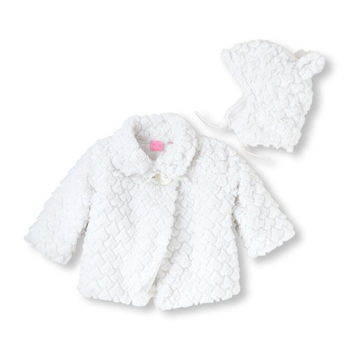 08a9c27ef Baby faux fur white hat and jacket set. The must-have set to ...
