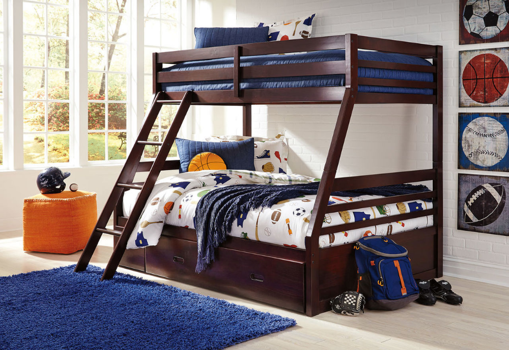 Ashley Halanton Dark Brown Twin Full Bunk Bed With Ladder Bunk Bed Rails With Under Bed Storage