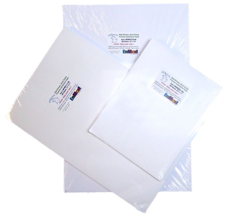 You may not know this,  but the paper you use for sublimation can make a big difference.  EnMart's Mpres paper is great stuff,  we know because our parent company uses it every day.  If it didn't work for us, we wouldn't offer it to you.  It's that simple.