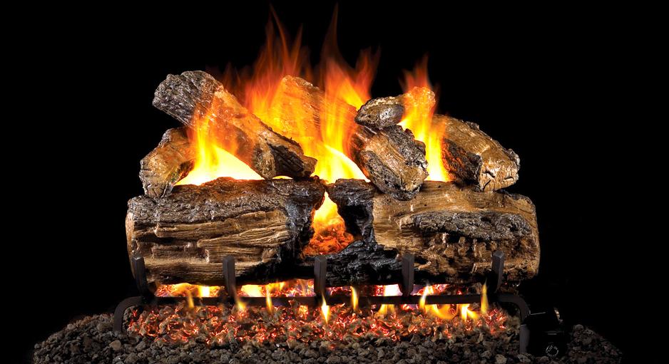 CJs Hearth and Home - Burnt Split Oak Vented Gas Log Set. #fireplace #fire #logs #gas logs