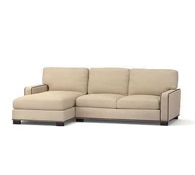 Turner Square Arm Upholstered Right Arm Sofa with Chaise Sectional with Bronze Nailheads, Down Blend Wrapped Cushions, Performance Canvas Driftwood