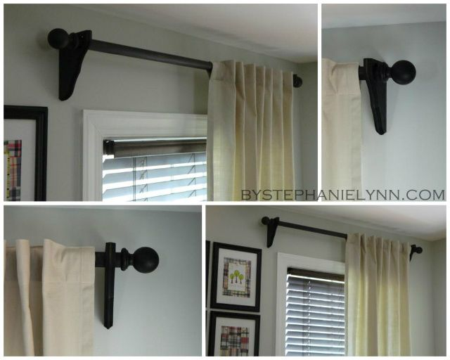 Make Your Own Wooden Ball Curtain Rod Set With Brackets Diy Drapery Hardware Diy Curtain Rods Diy Curtains Home