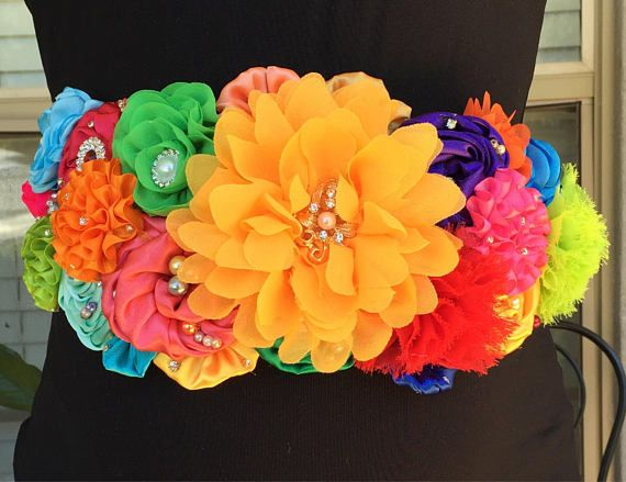 This Is A Stunning Mexican Fiesta Flower Maternity Sash Oh So