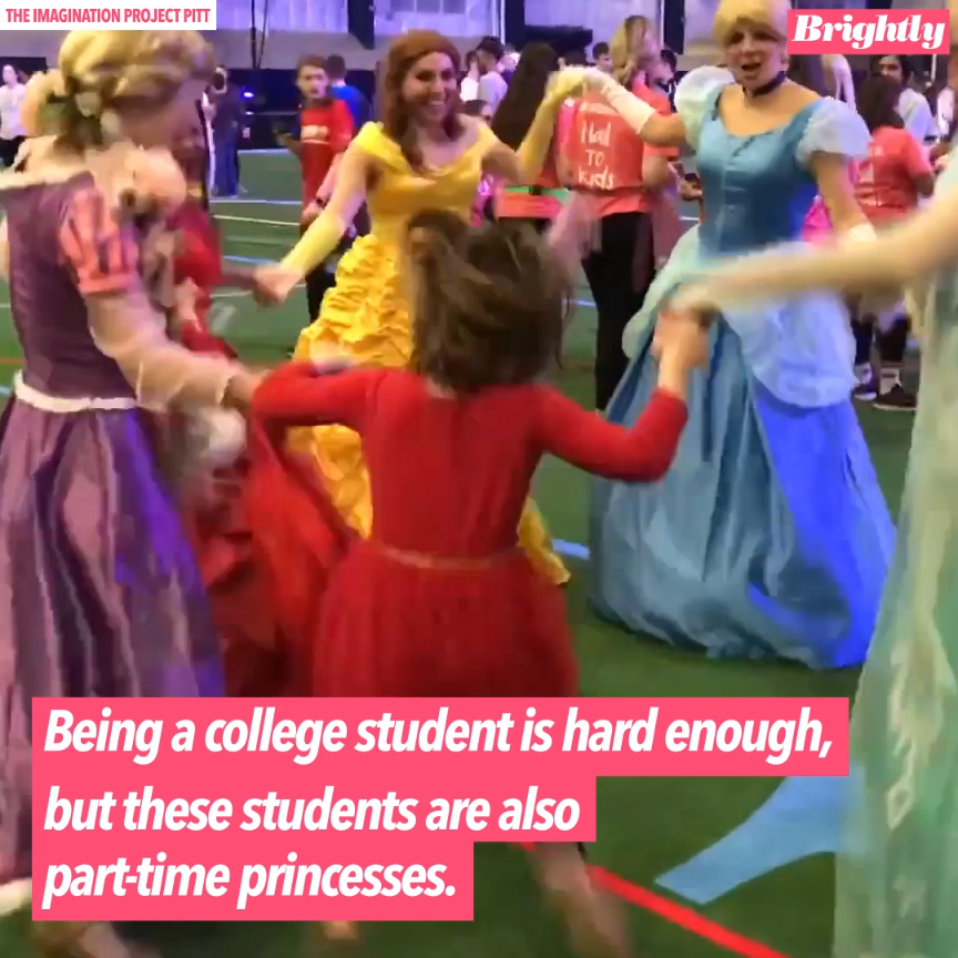College students at the University of Pittsburgh regularly transform into princes and princesses to visit children in the hospital!
