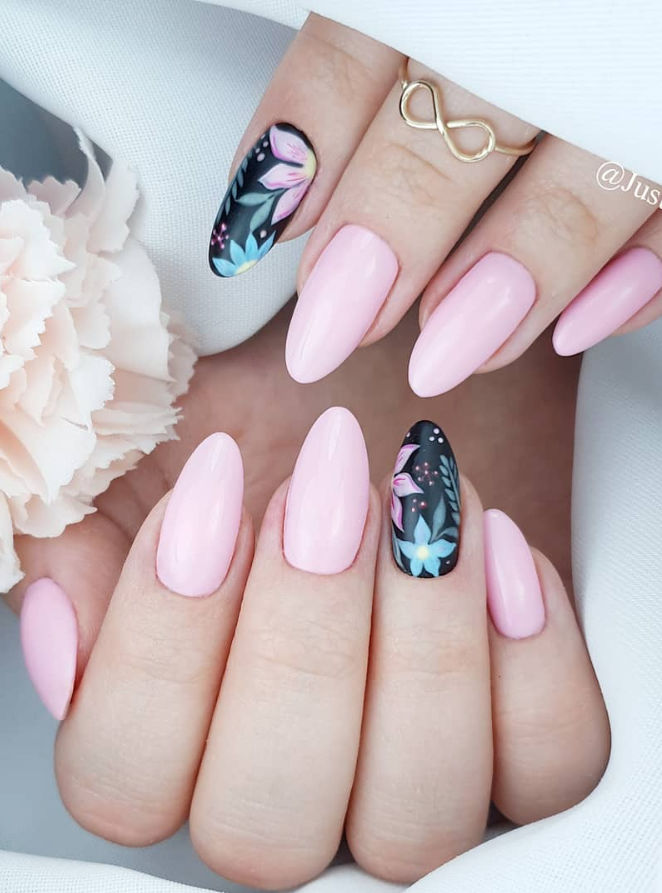 48 Hot Short Acrylic Almond Nails Design You Must Try Almond Nails Pink Almond Nails Designs Nail Shapes