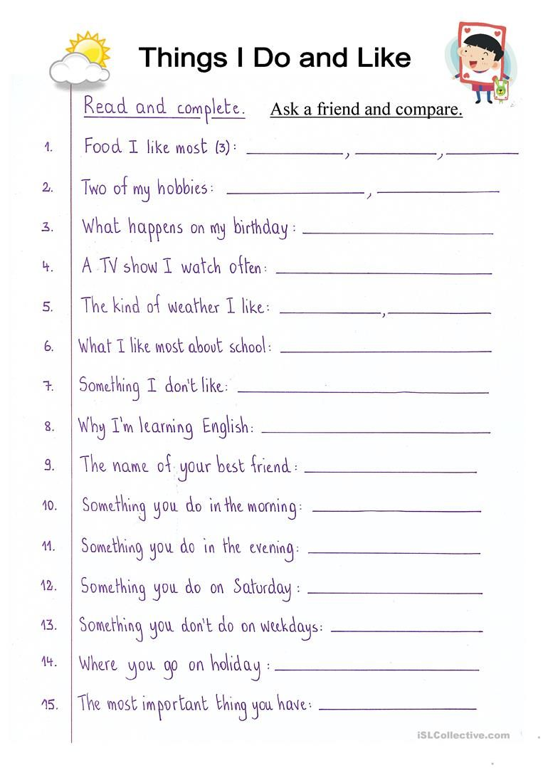 Read And Complete What I Do And Like Worksheet Free Esl Printable Wor English Lessons For Kids English Worksheets For Kids Reading Comprehension Worksheets