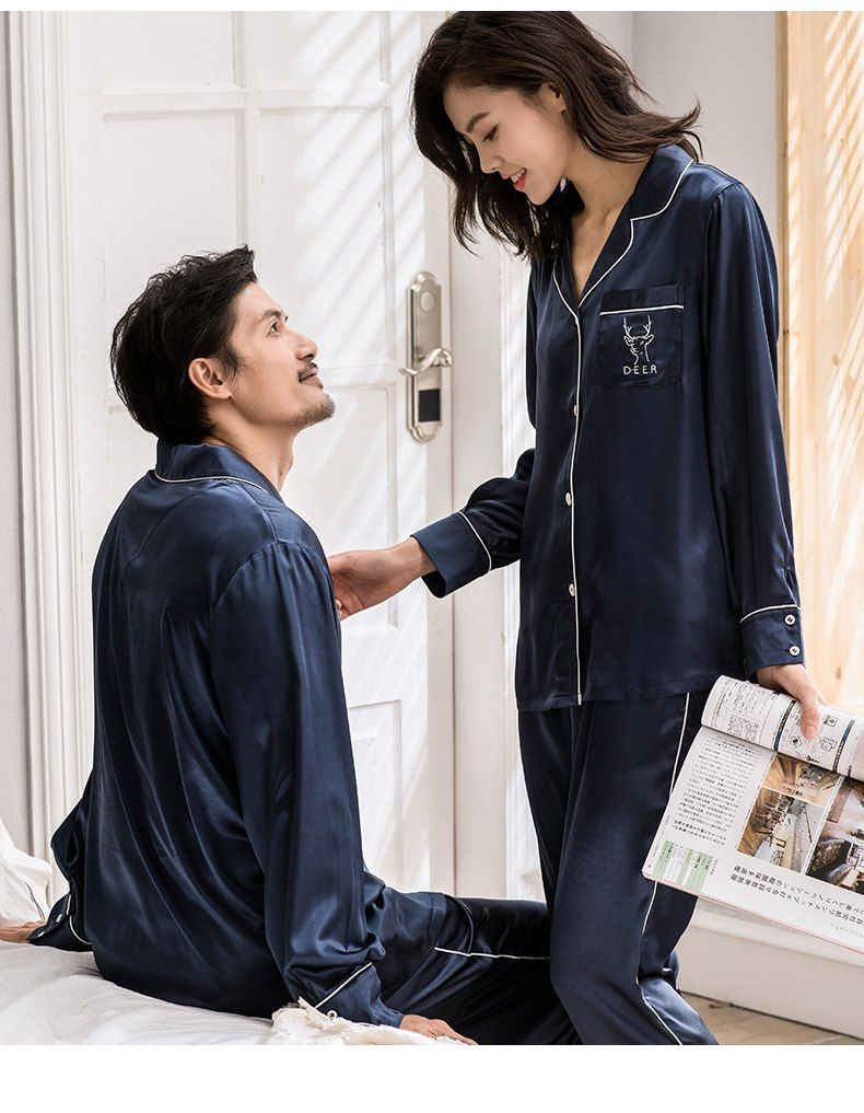 07d982753f CherLemon Couple Silk Satin Pajama Set Women and Mens Autumn Long Sleeve  Button Down Solid Blue