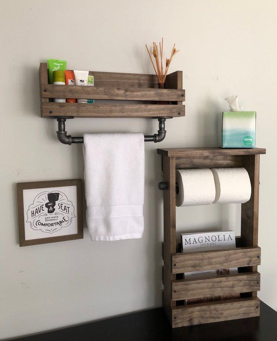 Photo of Towel Bar Wall Mounted Shelf And Magazine Holder And Toilet Paper Holder Free Standing, Industrial Rustic Barn House Bathroom Decor Shelves