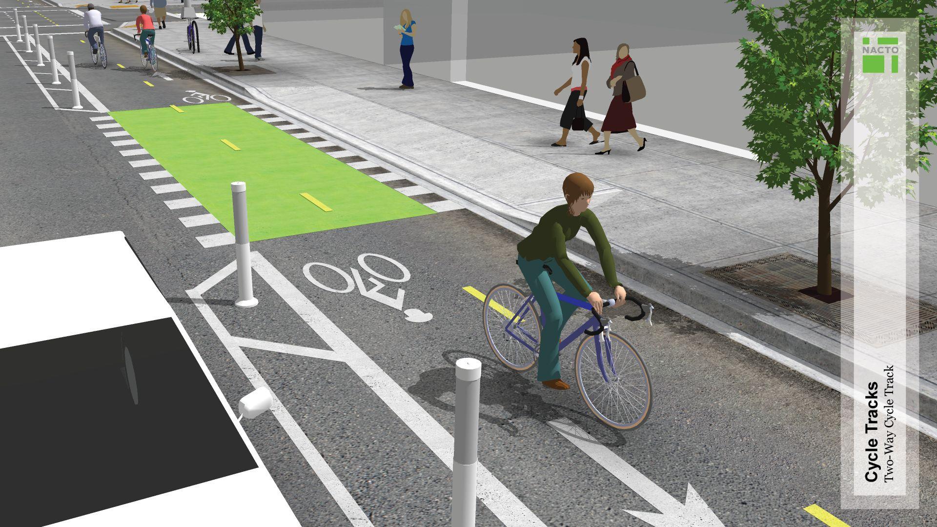 Two Way Cycle Tracks National Association Of City Transportation Officials Bike Lane Urban Landscape Design Track