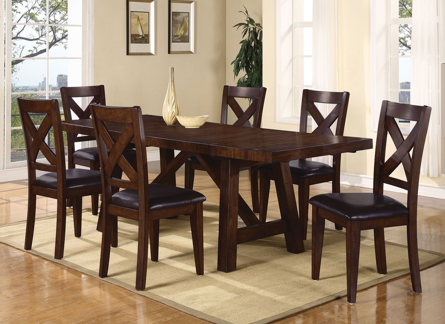 Adara 7 Piece Dining Package With Cross Back Chairs The Brick