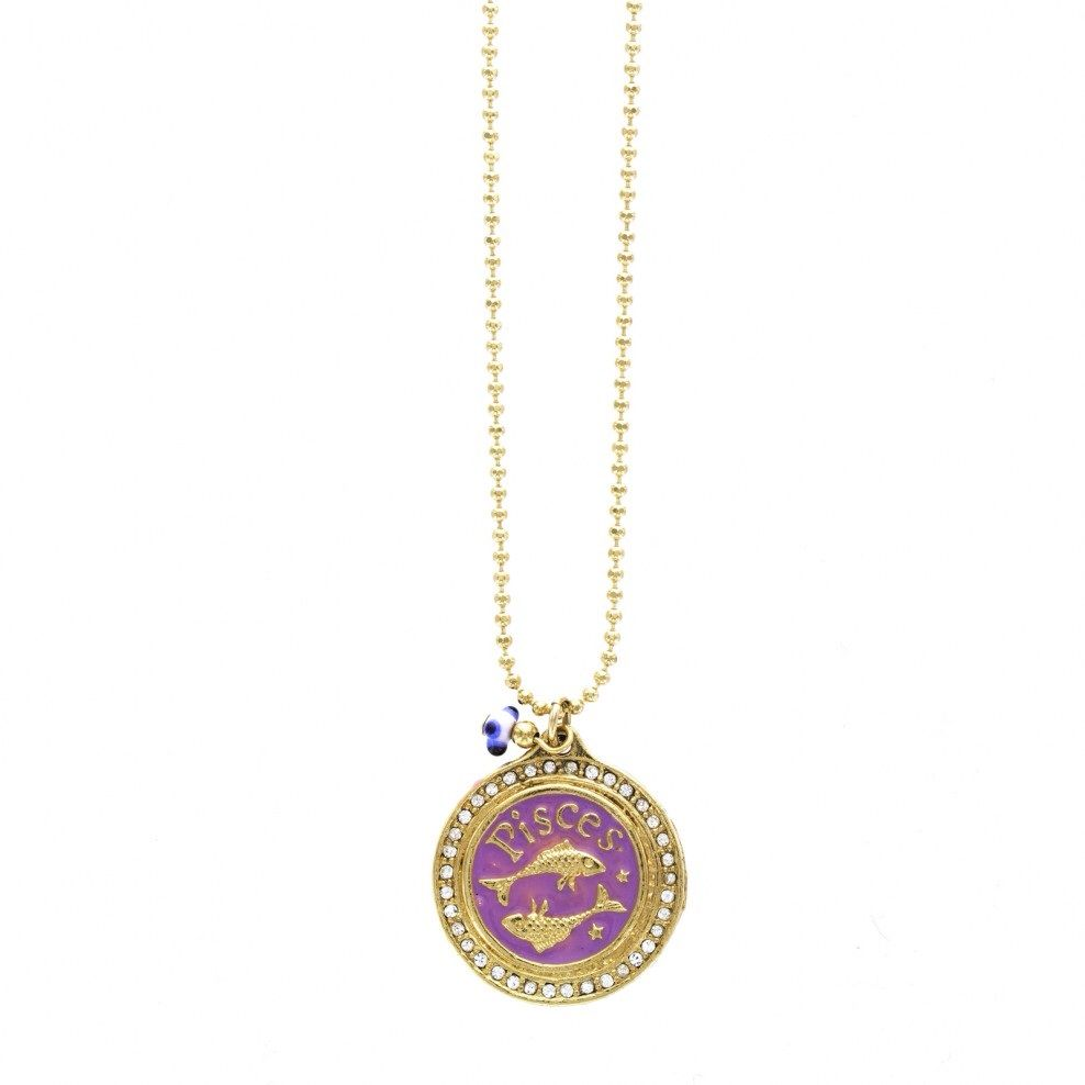 Lavender Purple Pisces Zodiac Gold Pav Necklace Pisces Zodiac and