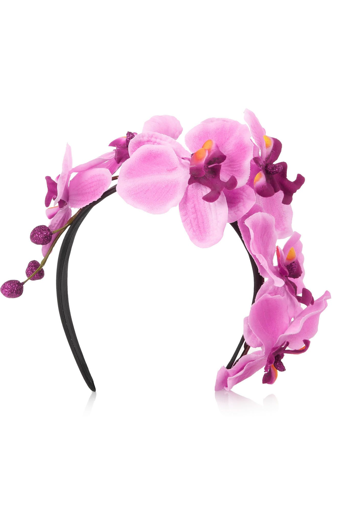 Piers Atkinson Silk Orchid Headband Designer Hair Accessories Silk Orchids Feather Hair Pieces