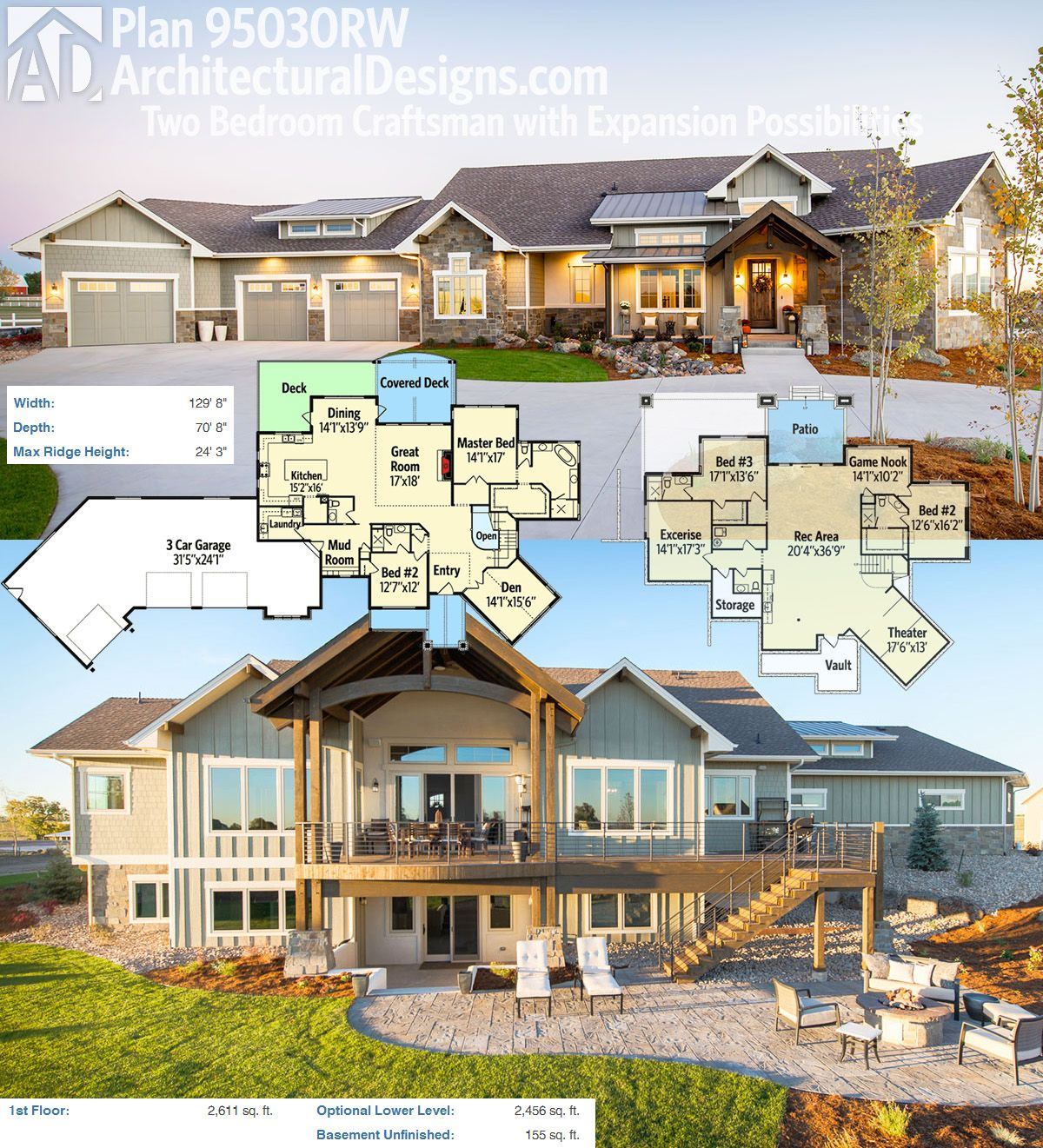 Plan 95030RW: Two Bedroom Craftsman House Plan With Expansion Possibilities
