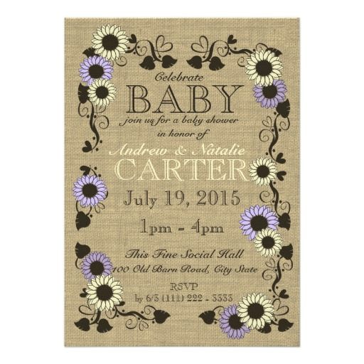 Country Sunflower Baby Shower Announcements