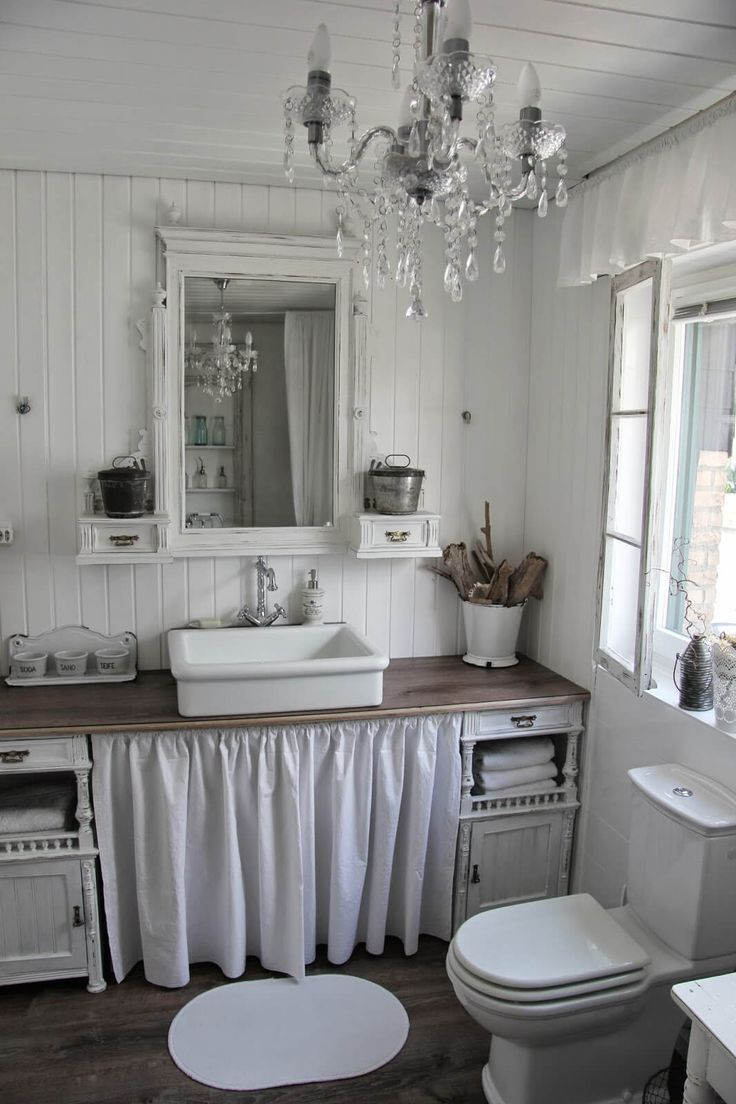 Shabby Chic Bathroom Design With Ruffle Details #shabbychicbathroomsfrench