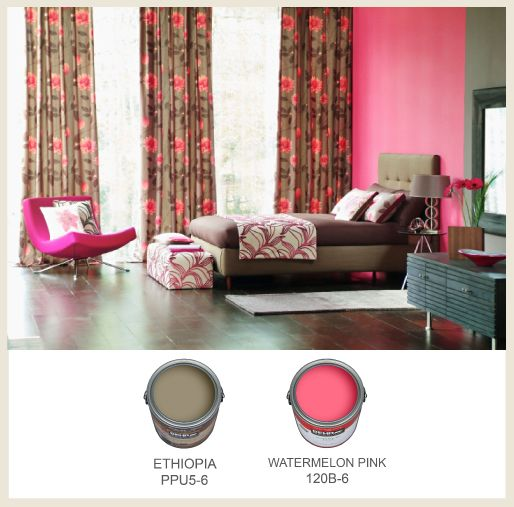 Painting Walls In Shades Of Melon: Pair Bright #pink And Light Brown For An Intriguing And