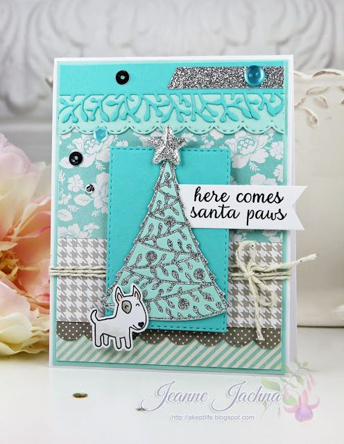 "Jeanne Jachna: A Kept Life – ""Fusion Card Challenge - Blue Christmas"" - 11/26/15. (Memory Box stamps: Santa Paws. Memory Box Dies: Stitched Country Borders, Stitched Rectangle Layers. Poppystamps dies: Classic Ribbons, Woodland Border, Westbridge Christmas Tree ). (Pin#1: Christmas: Trees. Pin+: Christmas: Vintage)."