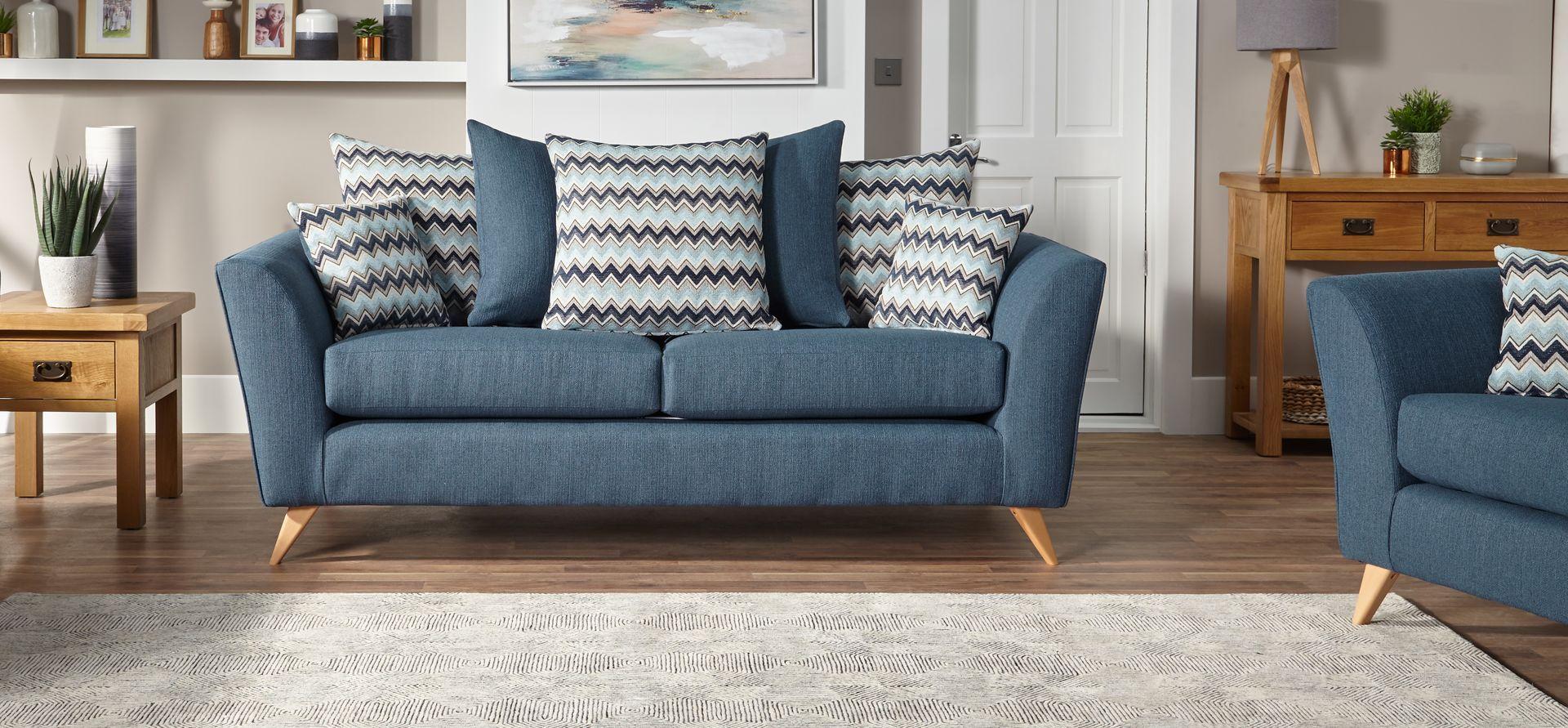 Solo 3 Seater Sofa Scatter Back Scs Seater Sofa 3 Seater Sofa Blue Sofa