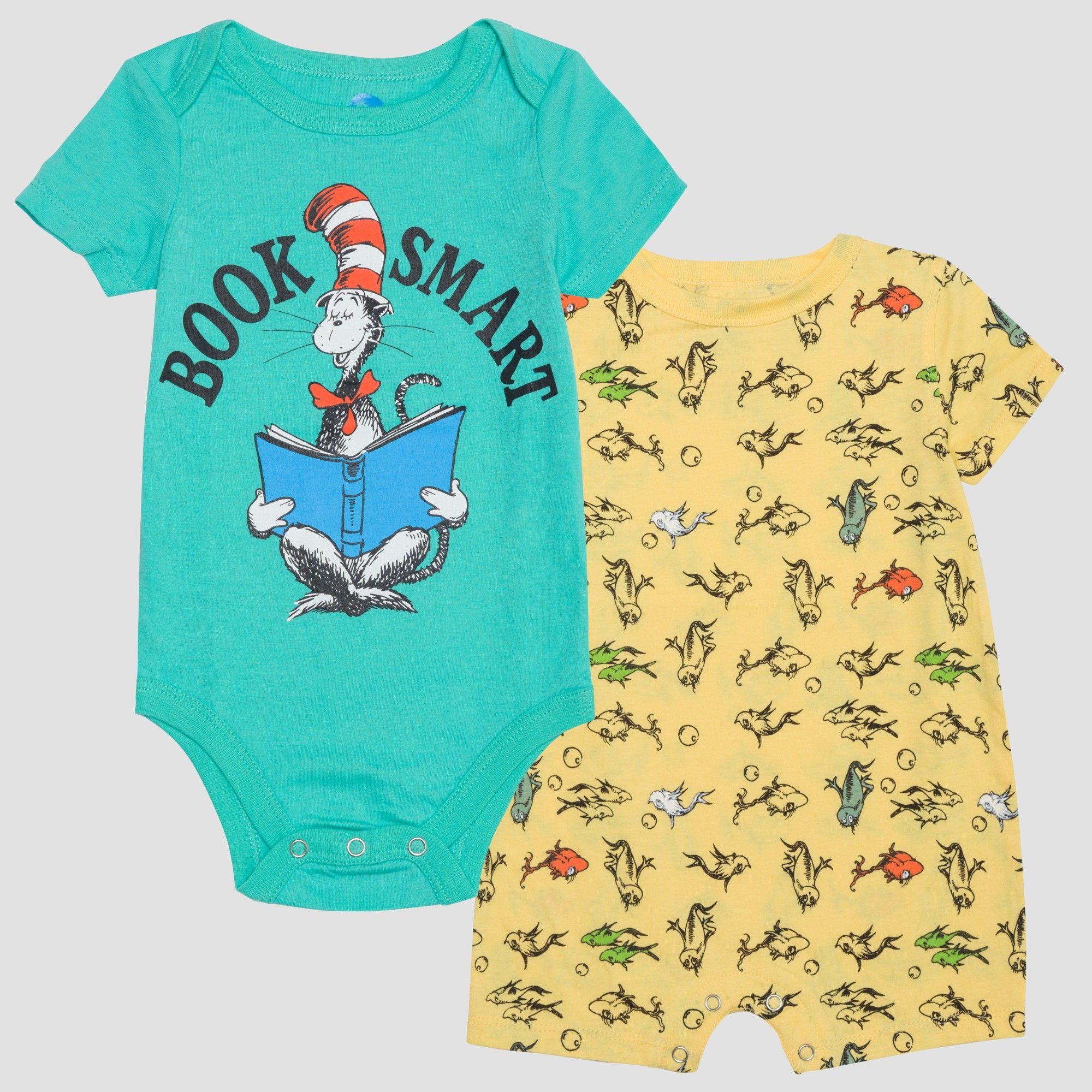 003c0770e2c10 Dr. Seuss Baby Boys  2pk Short Sleeve Bodysuits - Yellow Aqua NB ...