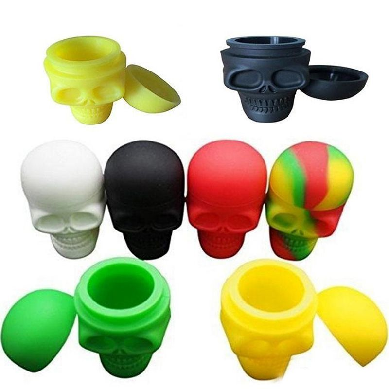 Assort Colors 15ML Skull Silicone Container Wax Dab Jar