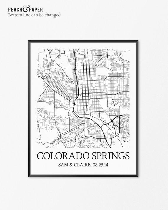 Colorado Map Art.Colorado Springs Map Art Print Colorado Poster Map Of Colorado
