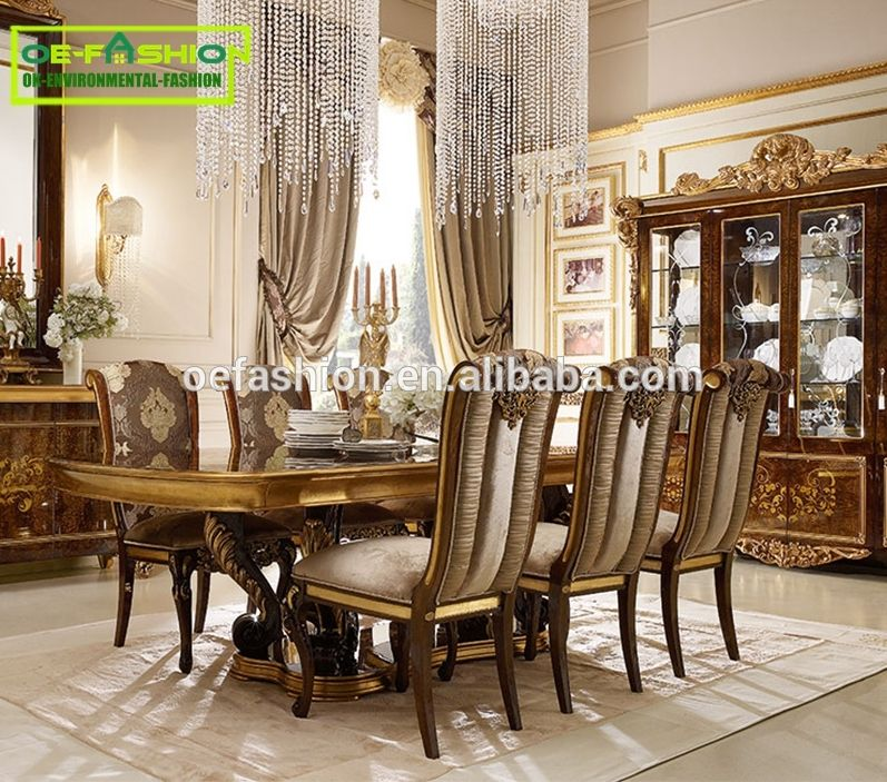 Oe Fashion Luxury Dining Table Set Wooden Carving Frame 8 Seater