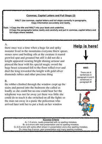 Commas, capital letters and full stops (2)   Success criteria ...