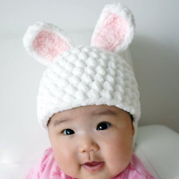 Easter Bunny Hat, Rabbit Hat, Crochet Bunny Hat, Crochet Baby Hat ...