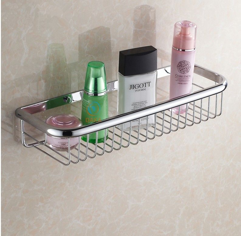 Classic Bathroom Accessories Wall Mounted Strong Brass Fashion Chrome Design Shower Shampoo Shelf Basket Holder 45cm S Chrome Finish Bathroom Shelves Chrome