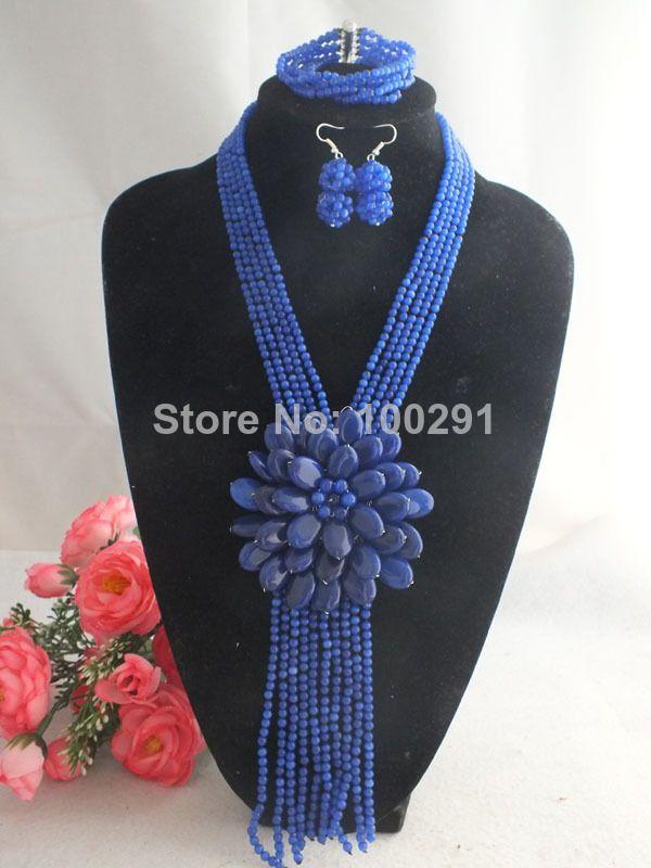 Newest!!! 2014 Fashion Cat Eye Stone Flower Necklace Jewelry Set MN-1512 $72.16