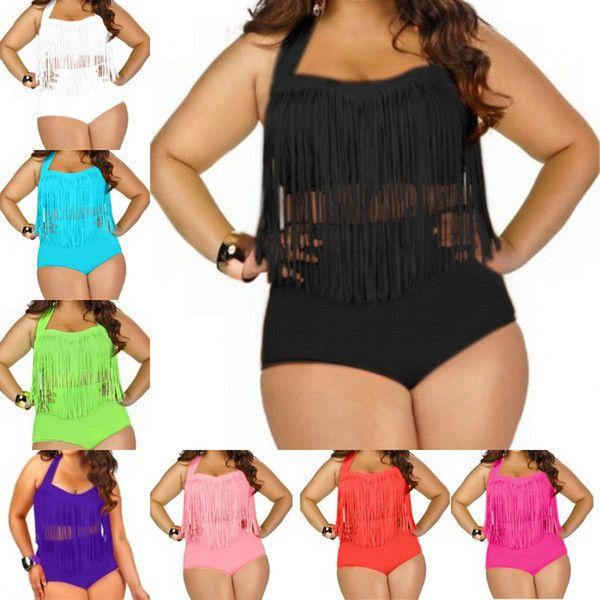 104f26d921f Plus Size Swimwear For Women Fringe Tassels Bikini High Waist ...