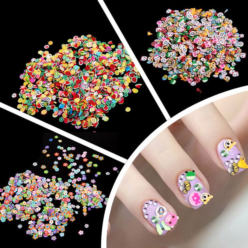 1000 Piecesbag 3 Series Fruit Flowers Animals Diy 3d Nail Art