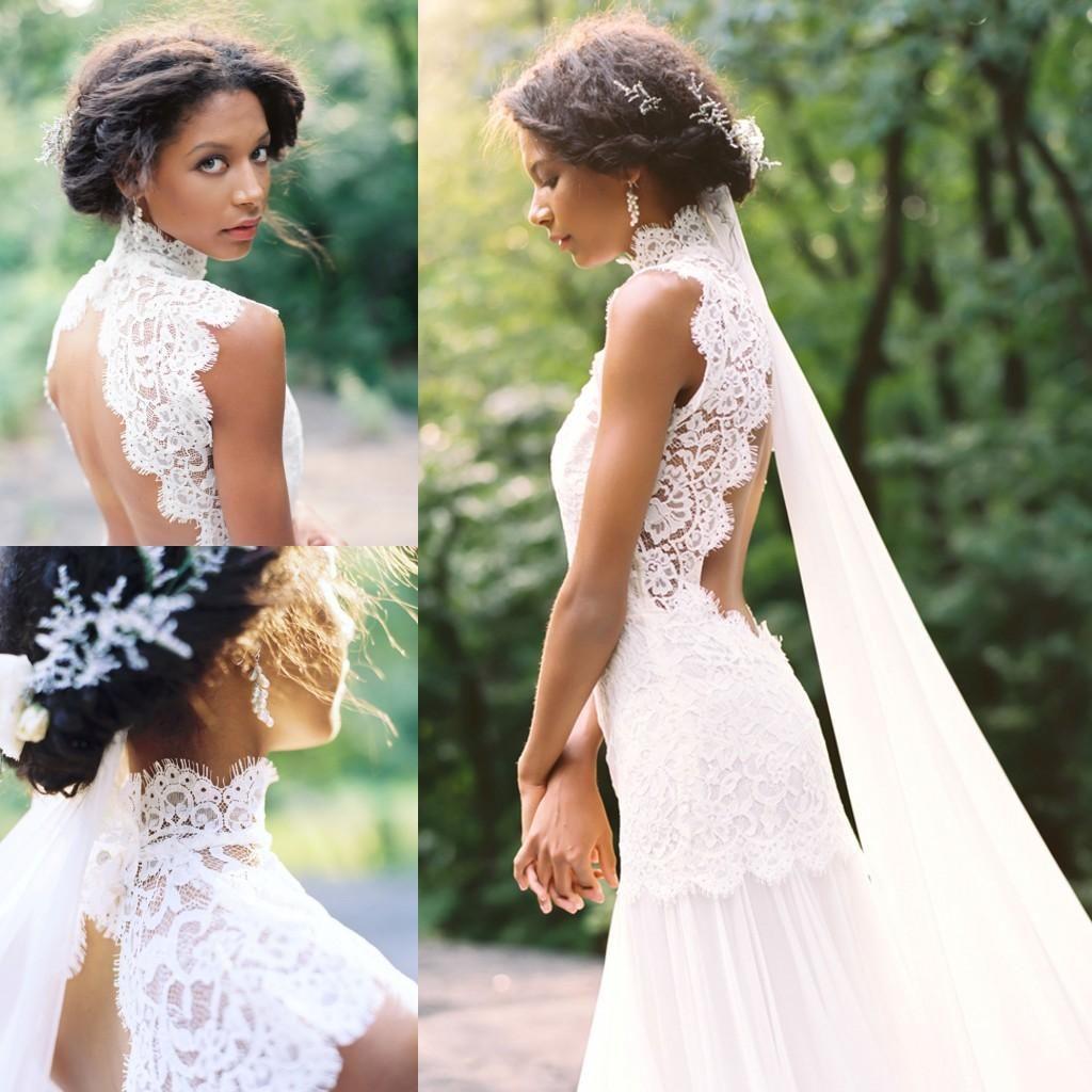 Vintage Lace Beach Chiffon Wedding Dresses 2015 Summer High Neck Backless White Mermiad Long Bridal Gowns Cheap Vestido De Novia Dress Gowns Glamorous Wedding D Lace Wedding Dress Vintage Long Bridal