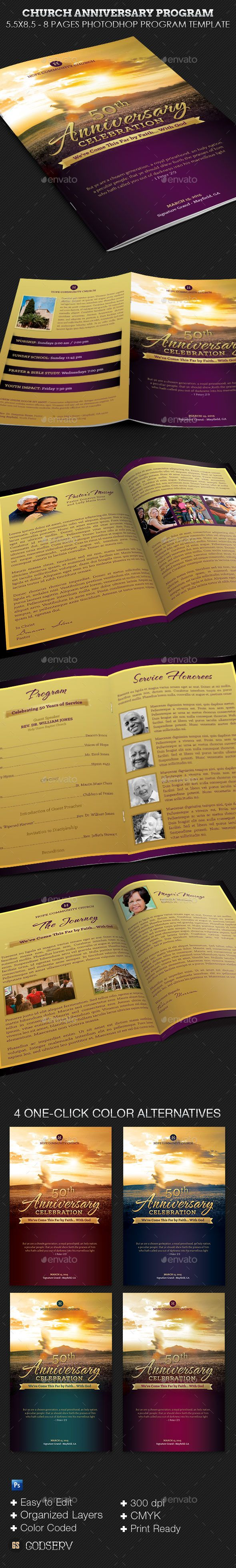 church anniversary service program template by godserv church