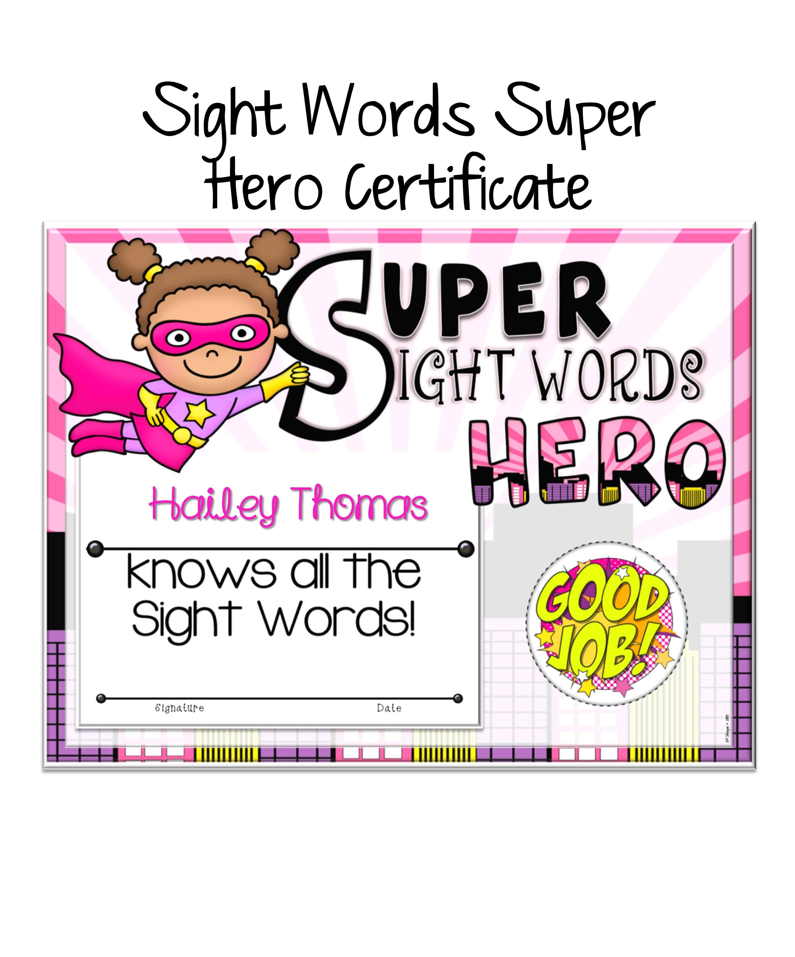 Sight words super heroes certificates pack certificate students sight words super heroes certificates pack 1betcityfo Image collections