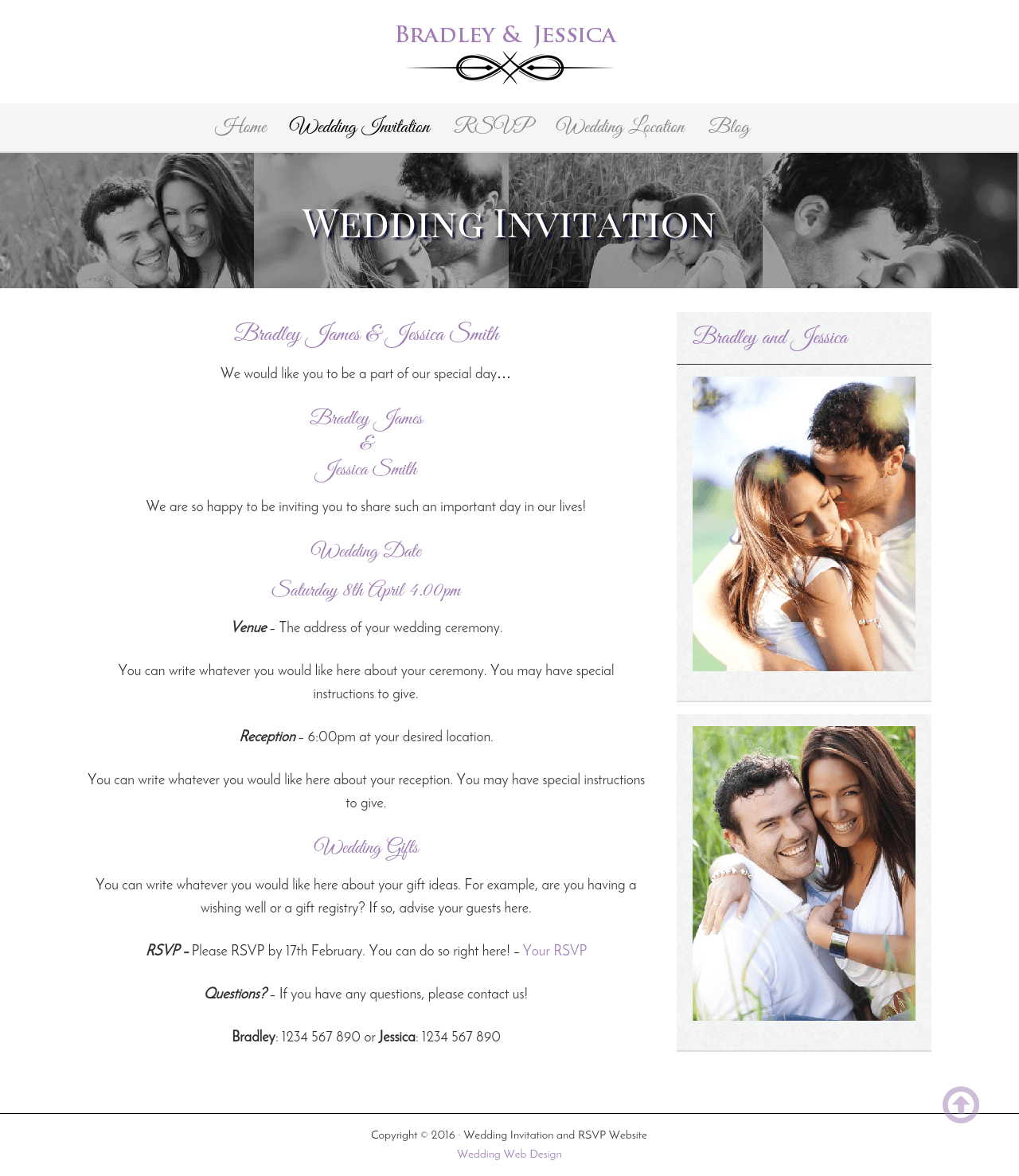 Wedding Rsvp Website Page Showing Website Details Nice Designs