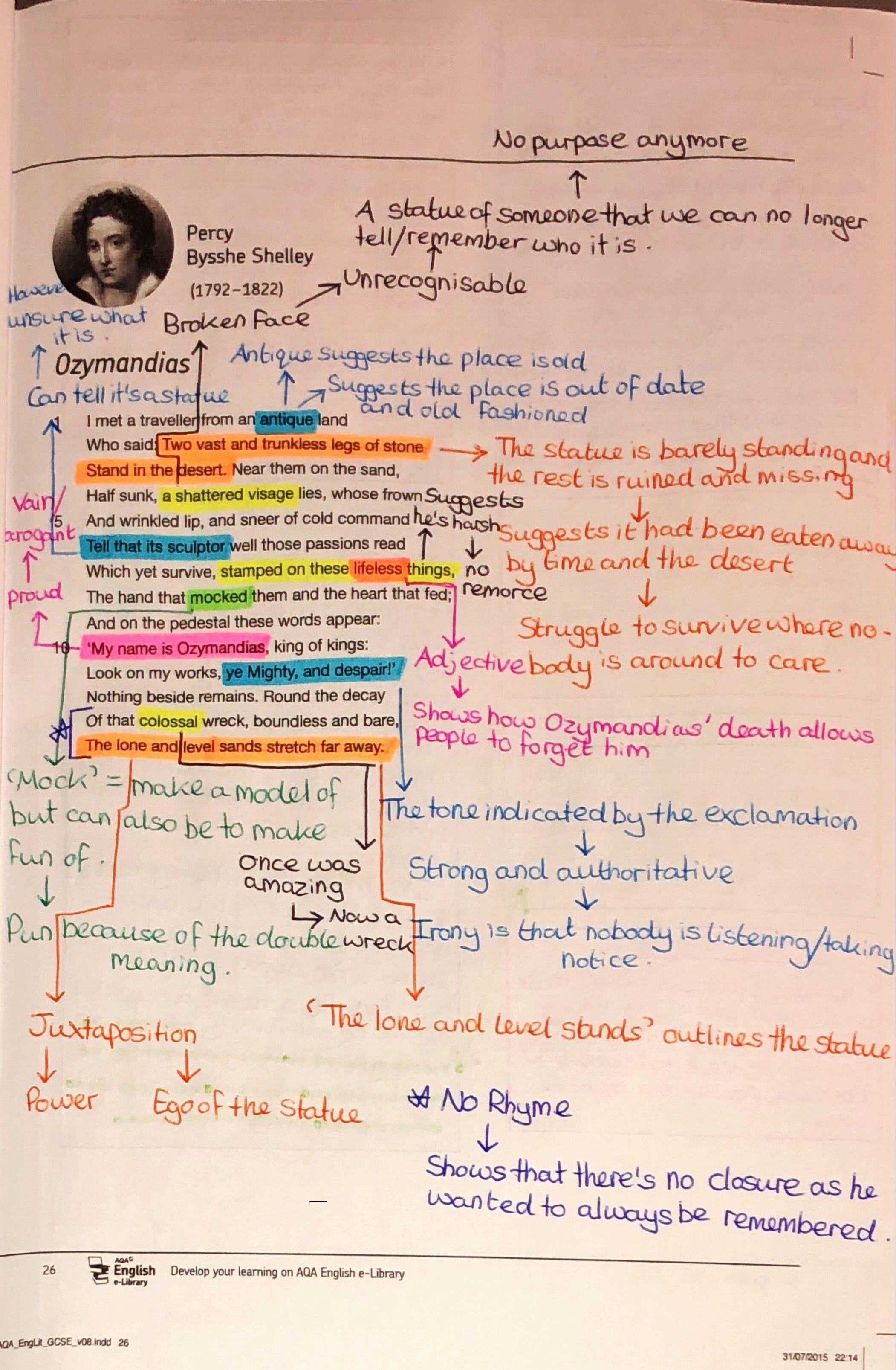 Ozymandia Annotation Gcse Revision Poem Analysi Poems Theme Of The By Pb Shelley
