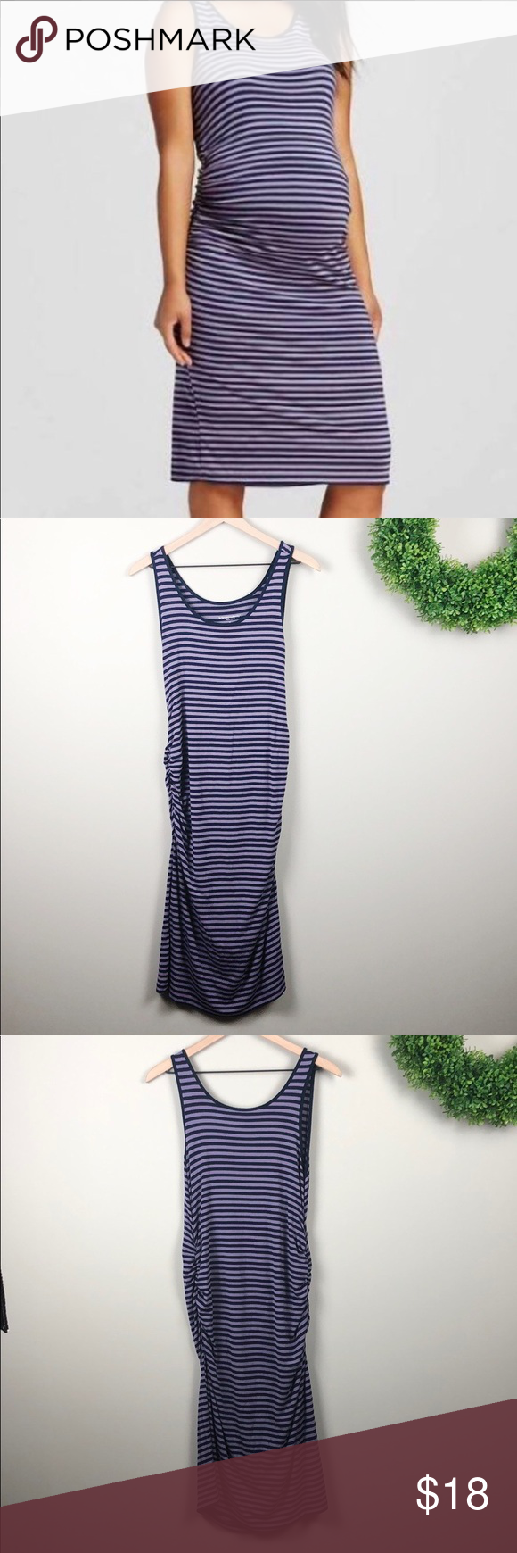 290ac79f461ed Liz Lange for Target striped midi dress maternity Very stretchy maternity  dress from Liz Lange. Purple and navy striped dress. It has amazing ruching  on ...