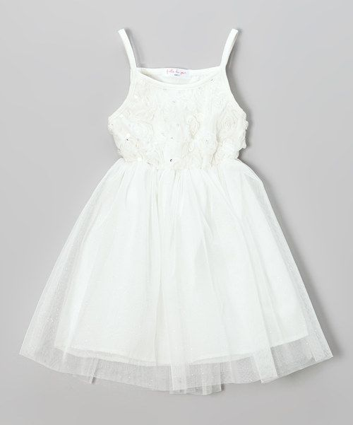 Less than 10!! Planning a wedding? Zulily always has gorgeous and super inexpensive flower girl dresses in every color, style and size. Shoes, hair clips bows and hair flowers. Petal baskets. Frills du Jour White Rosette Overlay Dress & Shrug - Toddler & Girls // coral pink aqua blue and mint green too