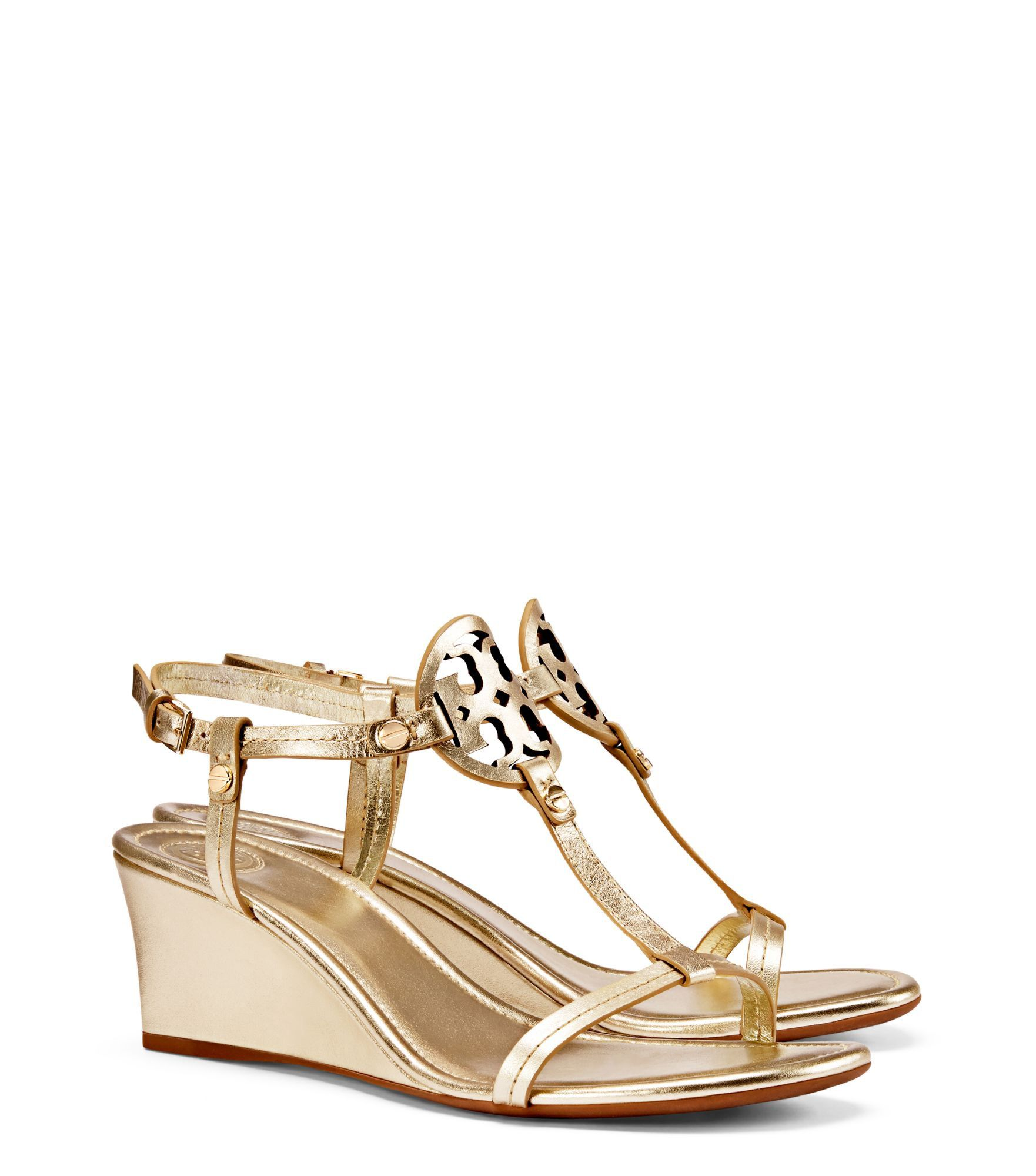 TORY BURCH MILLER WEDGE SANDAL, METALLIC LEATHER. #toryburch #shoes #all