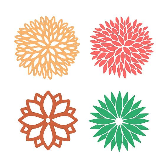Round Flowers Cuttable Design SVG DXF EPS use with by CuttableSVG