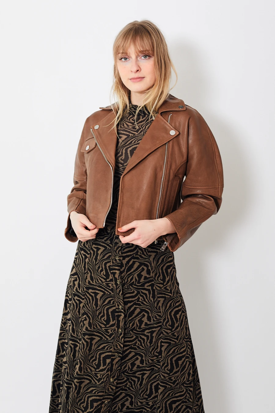 Ganni Grain Leather Jacket Tannin Motorcycled Style Cropped Leather Jacket Featuring Silver Hardware And Cropp Cropped Leather Jacket Jackets Leather Jacket [ 1350 x 900 Pixel ]