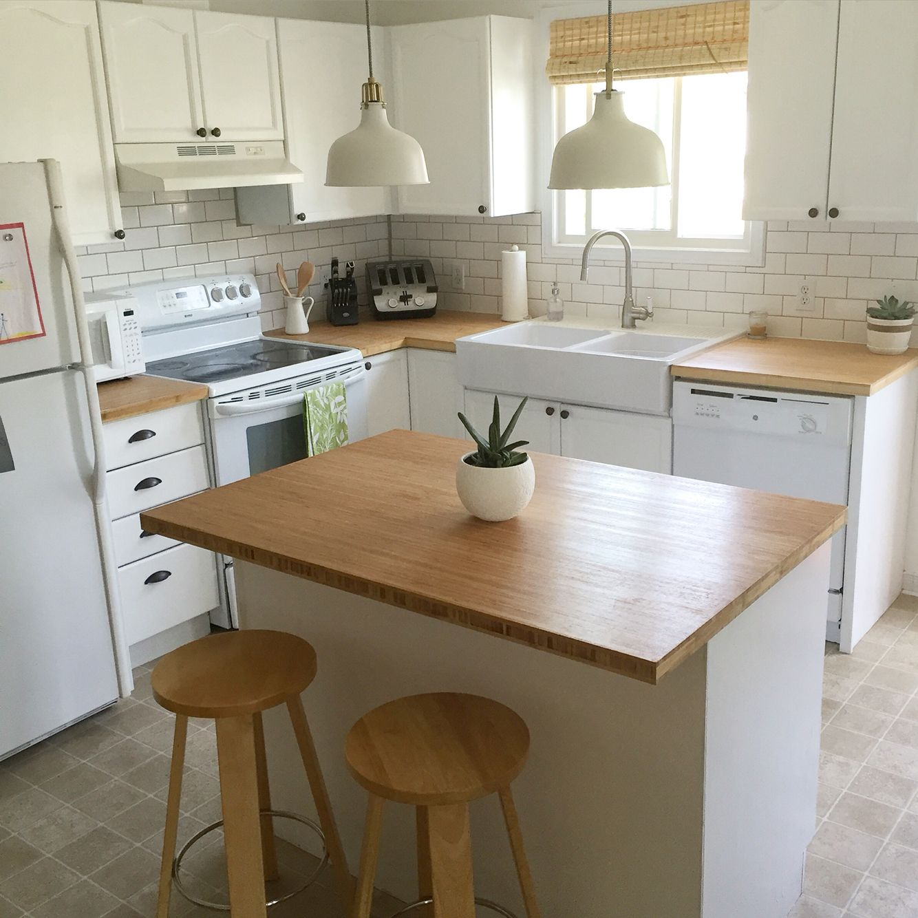 Bamboo counter tops (RONA), subway tile backsplash (HOME DEPOT ...