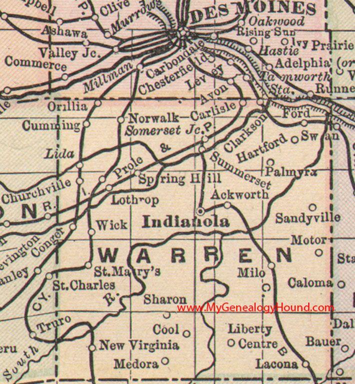 Warren County Iowa 1905 Map Indianola Norwalk Carlisle
