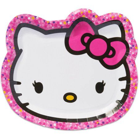 Hello Kitty 9 Inch Die Cut Plate 8 Count Party Supplies