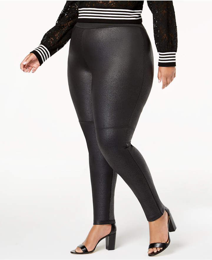 2c8fe291f6ff9 INC International Concepts I.n.c. Plus Size Pebble-Texture Faux-Leather  Smoothing Leggings, Created for Macy's