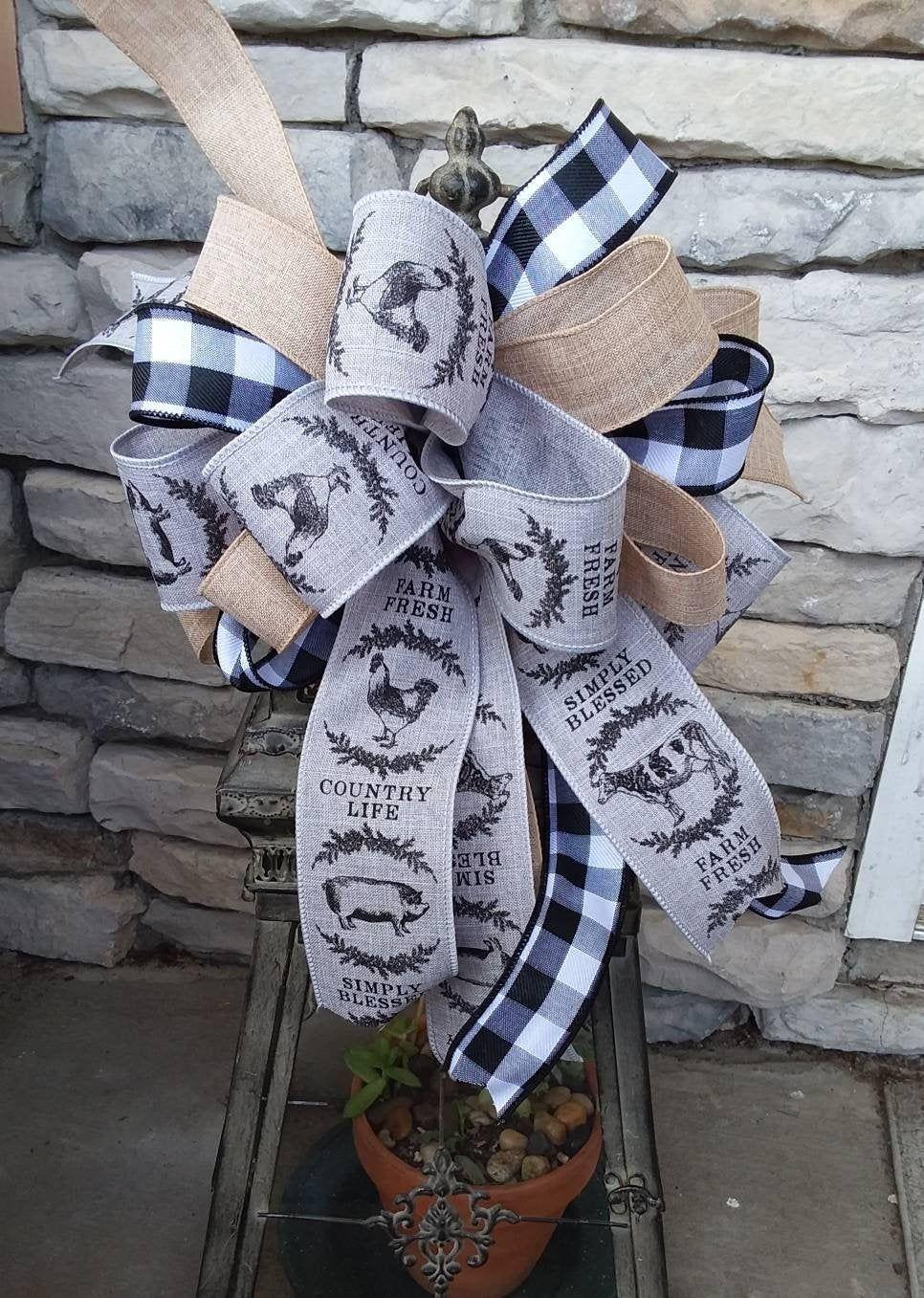 Photo of Farmhouse Lantern Bow, Farmhouse Wreath Bow~ Farm Animals Bow~ Farmhouse Door Bow~ Country home Decor ~Country Basket Bow~ Everyday Bow